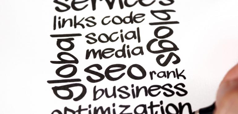 grafica con le seguenti scritte:seo social media blog links code rank business